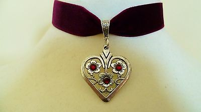 Burgundy Velvet Ribbon Love Heart Choker Medieval Pagan Necklace Gothic Pendant