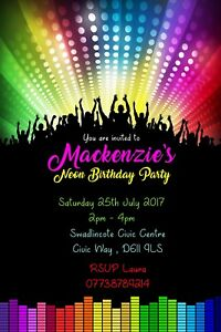 Personalised Neon Glow Rave Dance Birthday Party Invites