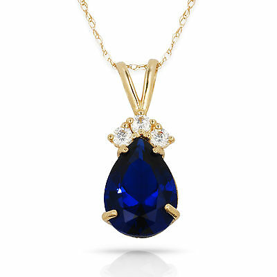 3.70CT Pear Shape Blue Sapphire 4 Stone Pendant /& Necklace 14K Yellow Gold