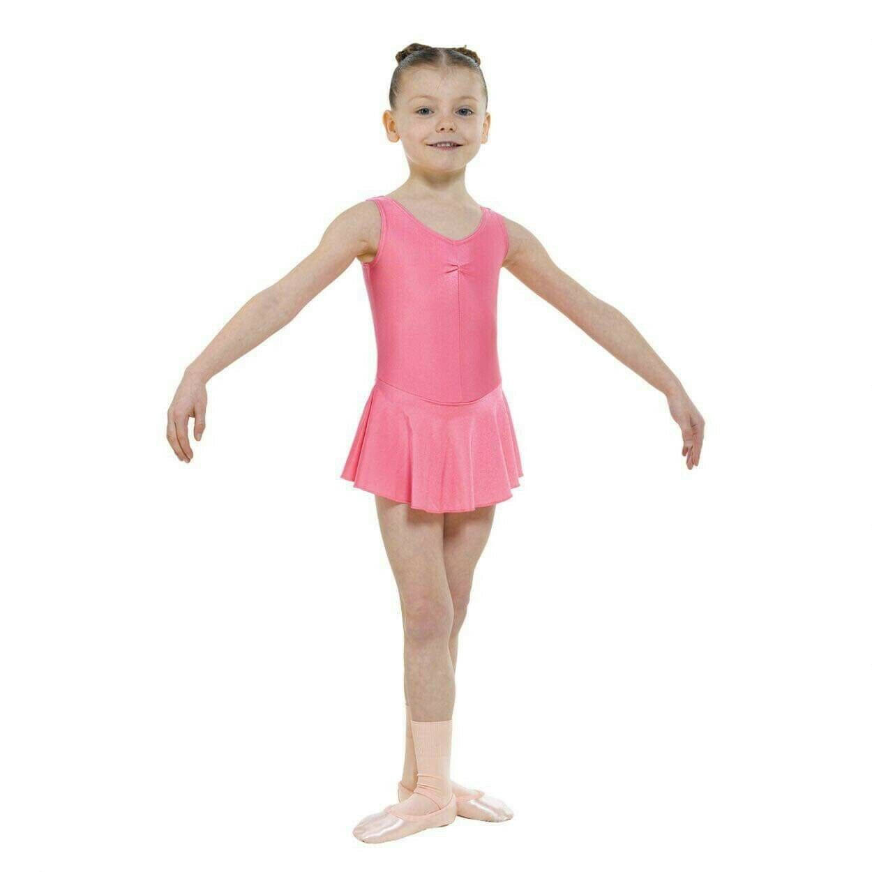 T&P ruched front sleeveless skirted Leotard Nylon Lycra Pink size 00