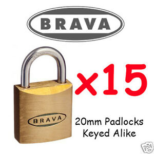 Padlocks x15  KEYED ALIKE BRAVA 20mm  High quality BULK LOT