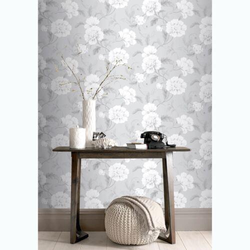 Boutique Papier Peint Fleur Gris Rasch 226188 Fleurs
