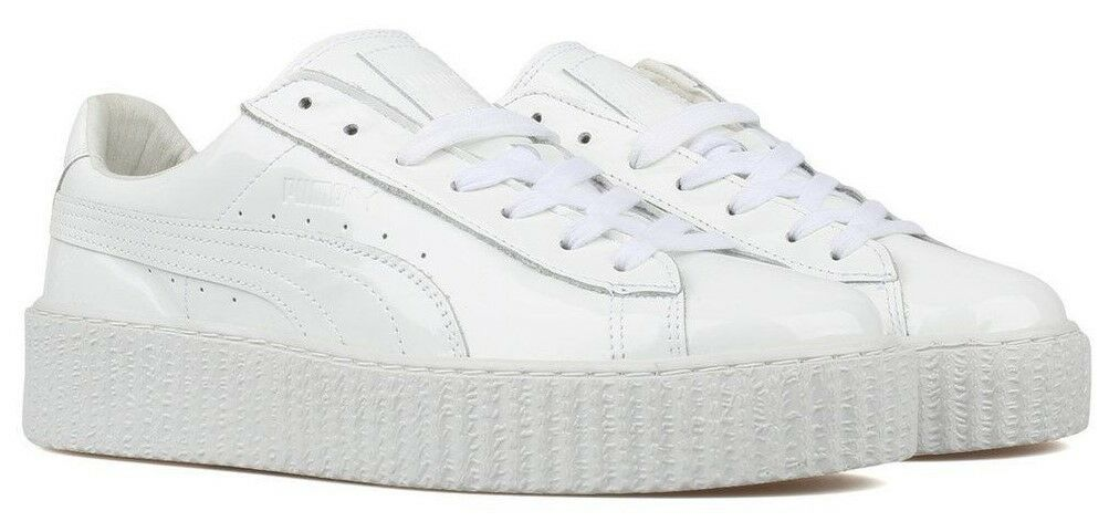 MEN'S PUMA BASKET CREEPERS GLOSSY WHITE clyde 11 clyde WHITE gold classic mcm suede black og 3eb68b