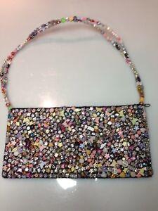 Beaded-purse-Beaded-Stone-Handle-Black-Handbag-purse-shoulder-bag-LA-VIOLA