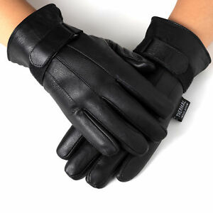 Alpine-Swiss-Mens-Gloves-Dressy-Genuine-Leather-Warm-Thermal-Lined-Wrist-Strap