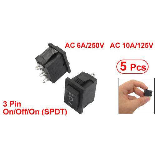 5pzs SPDT Mini Negro 3 Pines Interruptor basculante AC 6A/250V 10A/125V F1V9
