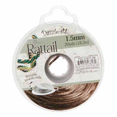 Rattail Stinging Beading Cord Nylon 10-20 Yards 1.5mm U-Pick Dazzle-it