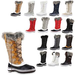 Warm Gefütterte Damen Stiefel Winterstiefel Boots Schuhe