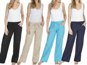 Lino Pantalones Mujer Verano Vacaciones Ligero Bolsillo Tallas Grandes Barato Ebay