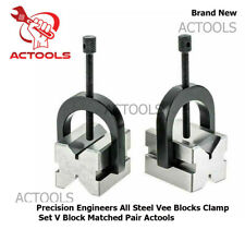 Precision Engineers All Steel Vee Blocks Clamp Set V Block Matched Pair Actools