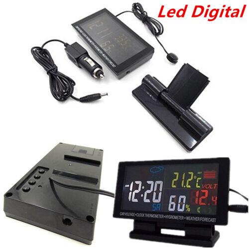 Led Digital Clock Car °C//°F Thermometer Hygrometer Voltage Weather Forecast 12V