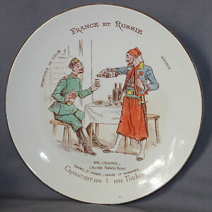 BEAUTIFUL-FRENCH-POTTERY-LUNEVILLE-PLATE-034-RUSSIAN-amp-FRENCH-034-034-FRANCE-amp-RUSSIE-034-B
