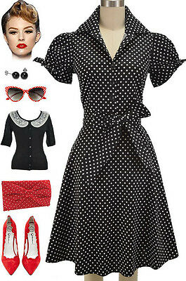 50s Style PLUS SIZE BLACK POLKA DOT Tie Sleeve Full Skirt Rockabilly PINUP Dress
