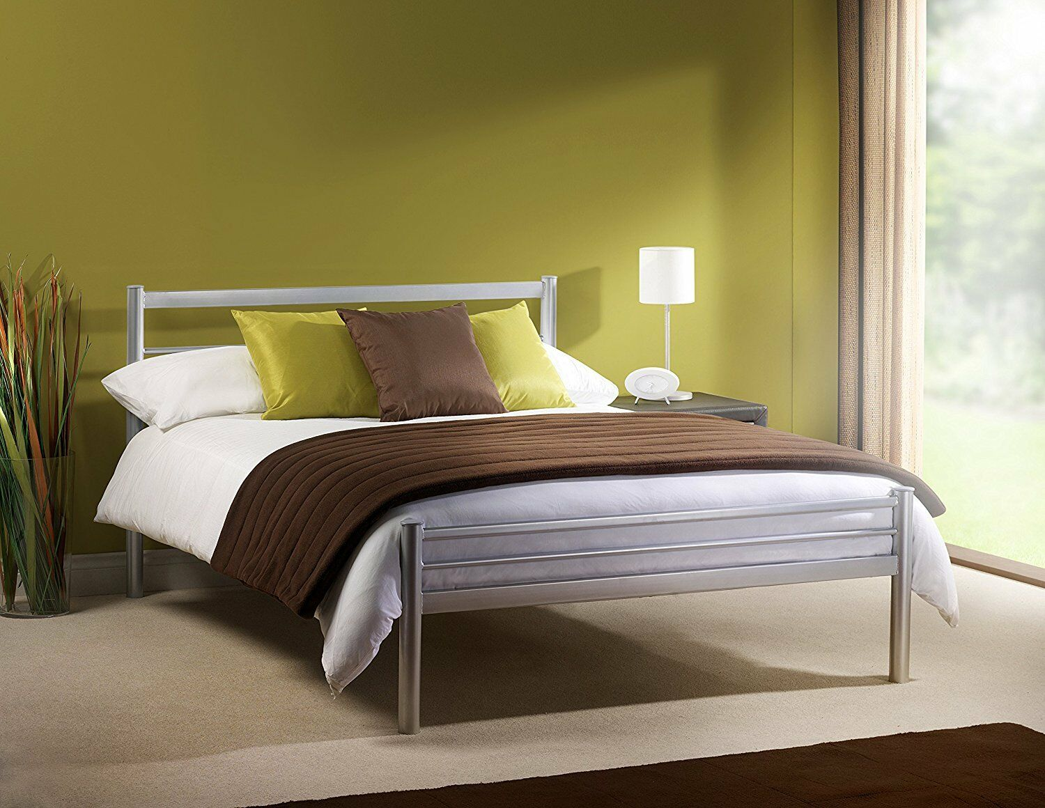 save off 188ba ea64f Details about New Silver Cheap Metal Bed Frame in 5 Sizes Bedroom Furniture  Metal Beds