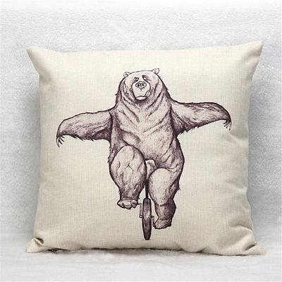 Bear  Vintage Linen Cotton Cushion Cover Throw Pillow Case Home Sofa Bed Decor