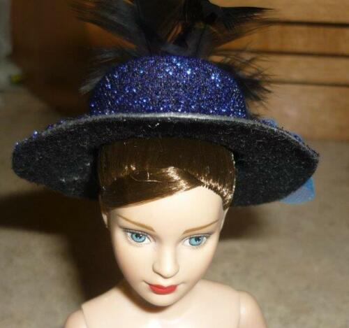 Dk Blue Shimmery Hat w//Plume,Bow w//Accent Stone for Tiny Kitty Doll