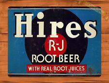 "TIN-UPS TIN SIGN ""Hire's RJ"" Root Beer Cola Advertisement Wall Decor"
