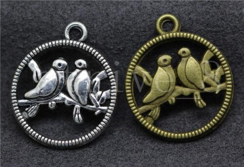 8//30//150pcs Antique Silver Beautiful two birds Jewelry Charm Pendant DIY 23x20mm
