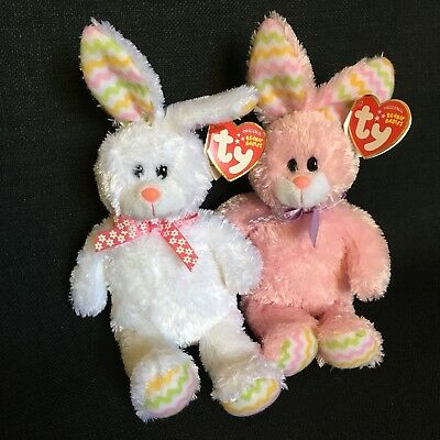 the White Easter Bunny Ty Beanie Baby HIPPITY 2010 Version
