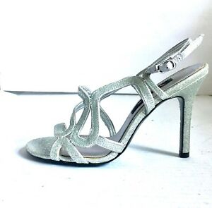 42411d77d Image is loading Nina-Metallic-Silver-Glitter-Strappy-Sandals-Heel-Buckle-