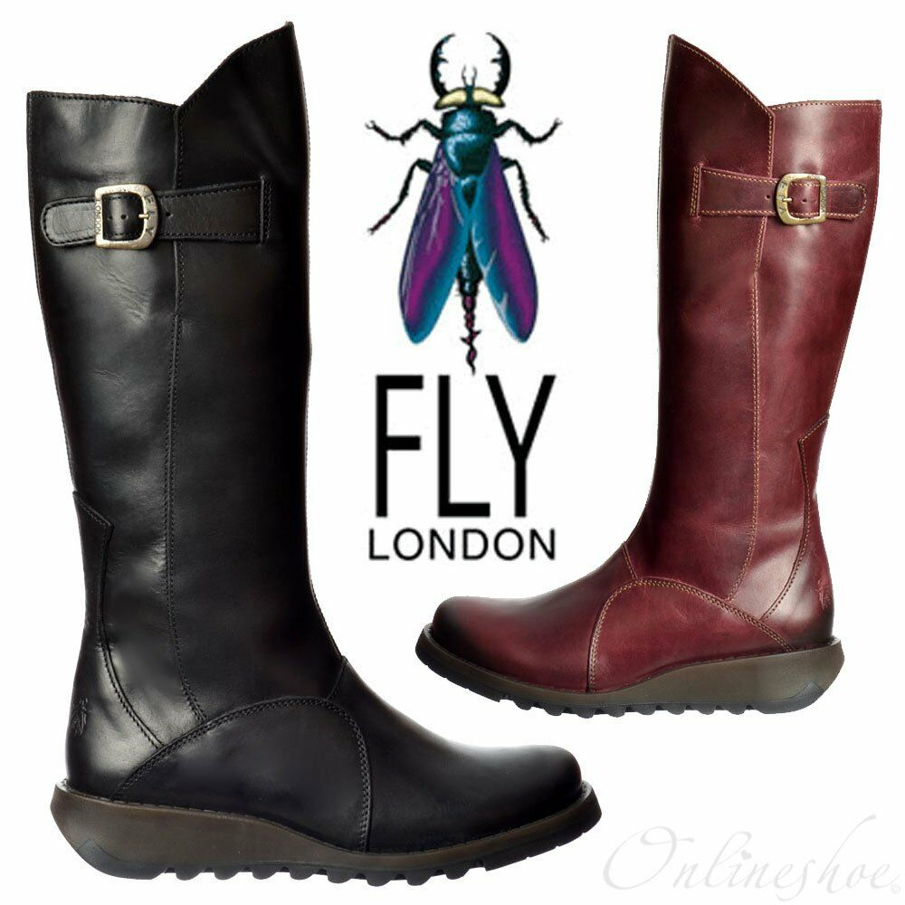 Damen Fly London Winterstiefel MOL 2 Kniehoch Leder Winterstiefel London Kleiner Keilabsatz fdb24b