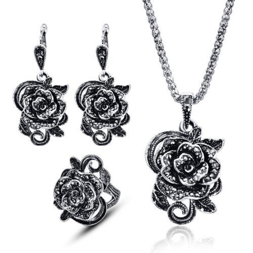 Women Bohemia Chunky Crystal Earrings Bracelet Ring Necklace Set Wedding Jewelry