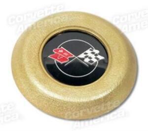 69-75 Corvette w// Tilt //Tele Steering Wheel Horn Cap Button BLACK Flag Start USA