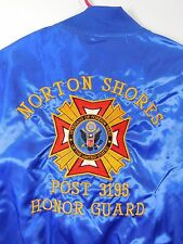 Blue Satin Veterans of Foreign Wars Jacket Men's Large Embroidered Post 3195