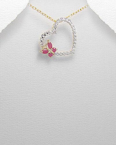 2.4g Sterling Silver Vermeil 14K Gold Heart Butterfly Ruby /& Diamond Pendant NEW