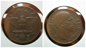 Kingdom-D-039-Italia-Vittorio-Emanuele-III-5-Cents-Empire-I-Type-Copper-1939-BB