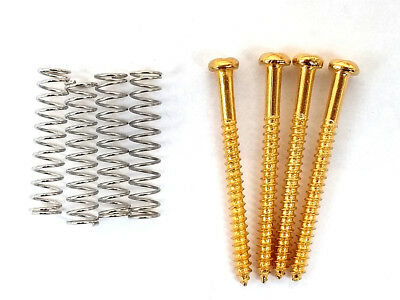 Janika 4 Gold plated Bass Guitar Pickup Screws And Springs For Mounting Jazz Precision