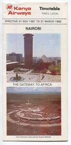 KENYA-AIRWAYS-TIMETABLE-WINTER-1981-82-AFRICA