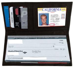 Black-Genuine-Leather-Thin-SLIM-Checkbook-Cover-Holder-Plain-Wallet-U-S-Seller