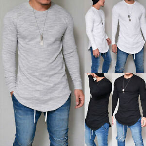 Fashion-Men-039-s-Slim-Fit-a-encolure-ronde-manches-longues-Muscle-Tee-T-shirt-Casual-Tops-chemisier