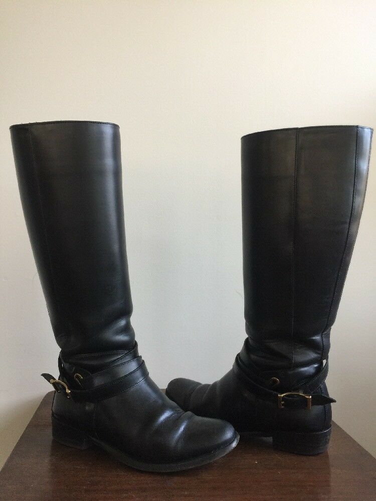 Burberry Adelaide Bridal Leather Riding Boots Black Women Sz 36.5 6.5