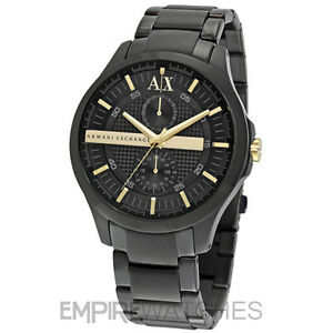 f3629caafa6 Image is loading NEW-MENS-ARMANI-EXCHANGE-BLACK-GOLD-CHRONOGRAPH-WATCH-