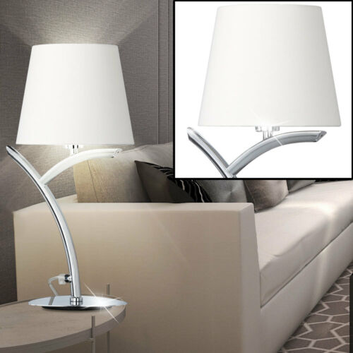 Textil Tisch Lampe weiß Wohn Arbeits Zimmer Beleuchtung Bogen Lese Leuchte chrom