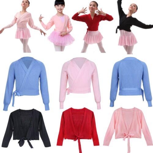 Girls Kids Ballerina Cardigan Ballet Dance Knitted Wrap Tops Shrug Shawl Sweater