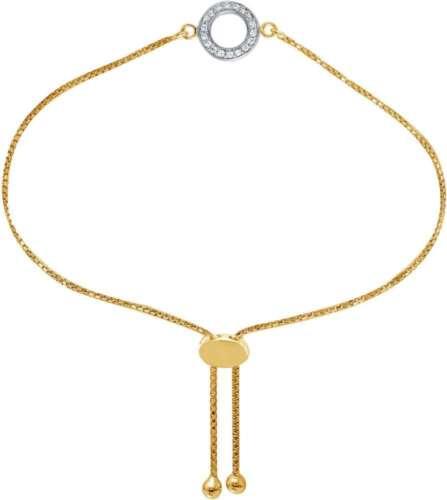 "Charles Garnier /""Betsy/"" 9/"" Gold-Plated Sterling Silver Bolo Bracelet w// CZ Disc"