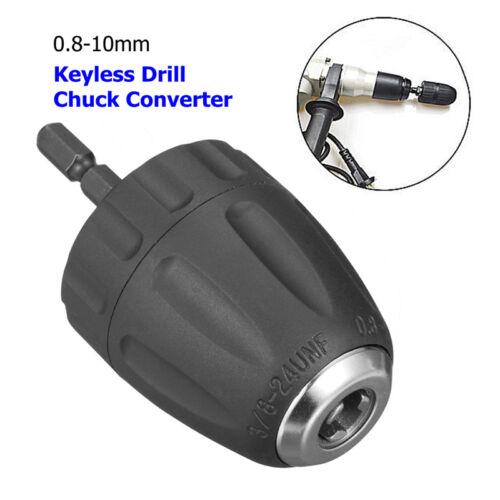 NEW 0.8-10MM 3//8/'/' 24UNF Keyless Drill Bit Chuck Clip 1//4/'/' Hex Shank Rod