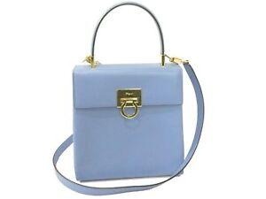 Auth-Salvatore-Ferragamo-Gancini-Shoulder-Hand-Bag-Leather-Blue-Excellent-Y996