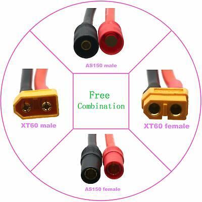 XT60 Female to 2x XT60 Male Parallel Y Harness 12AWG 10CM Wire For DJI Phantom