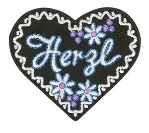 HERZ / Herzl / Tracht - Aufnäher Aufbügler Iron On Patch Applikation #9686