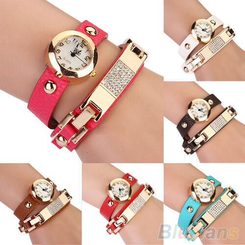 New Vogue Women Rhinestone Faux Leather Bracelet Analog Quartz Wrist Watch