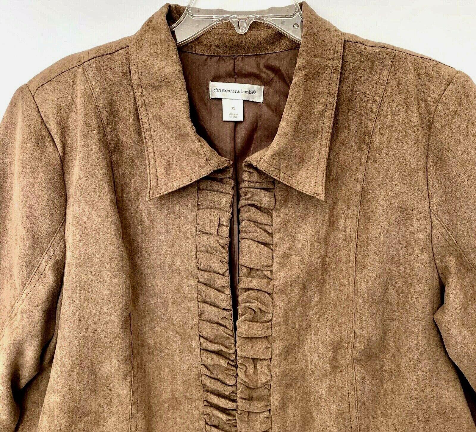 Christopher & Banks Open Lined Jacket Women's XL 3/4 Sleeve Tan Collar