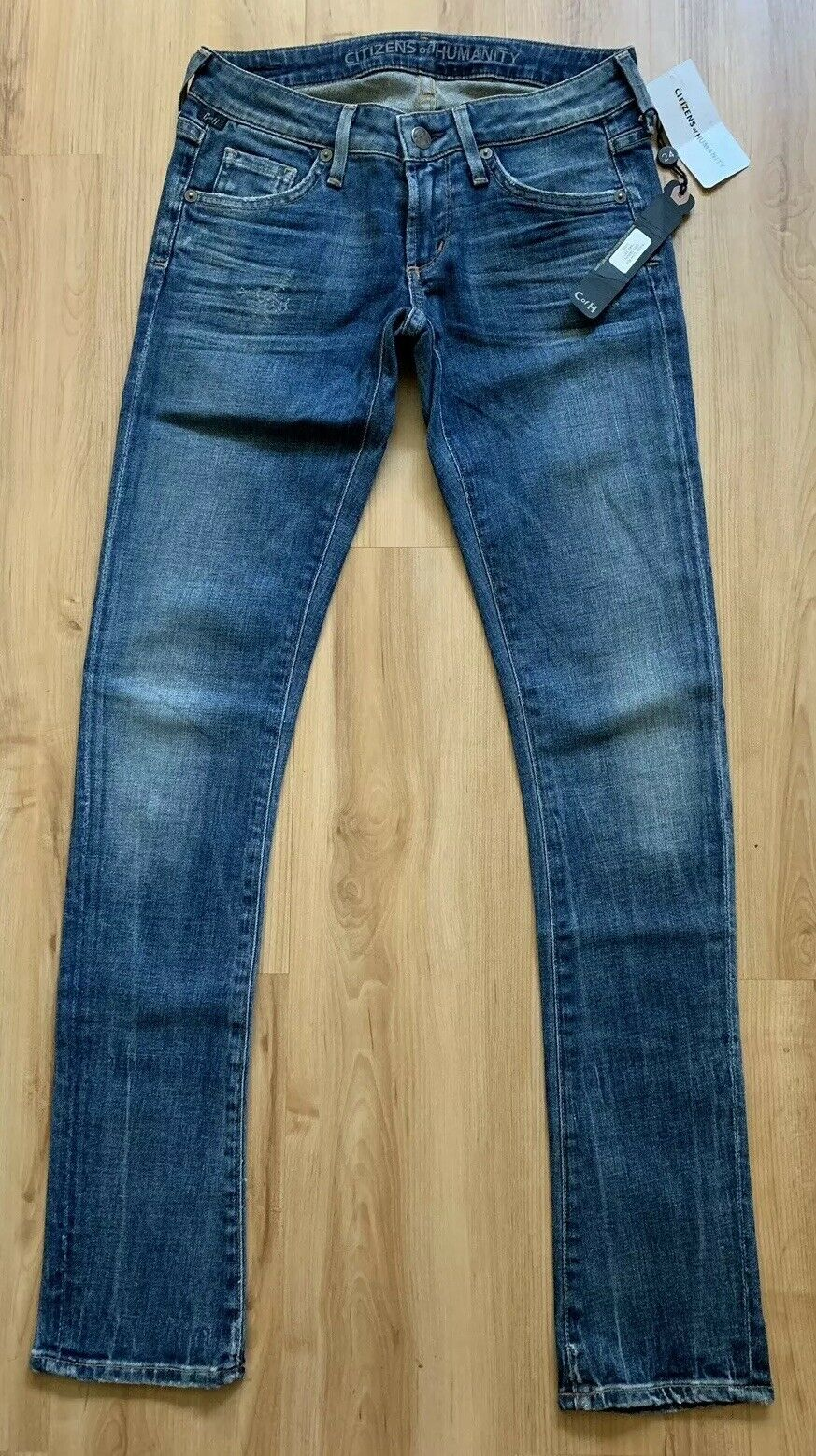 CITIZENS OF HUMANITY Racer Low Rise Ultra Skinny Denim Jeans Slash bluee Sz 24