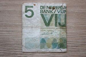 FidèLe Billet 5 Al Florin 26. Avril 1966 Pays-bas Nl Seulement Demi Détecteur Sii-afficher Le Titre D'origine