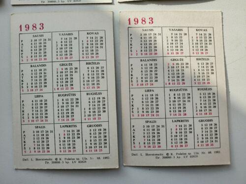 10 X USSR Old Rare Soviet Pocket Calendars Vintage 1983 Birds