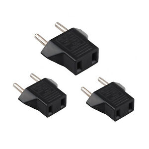 3X USA US To EU Europe Travel Charger Power Adapter Converter Wall Plug Home HU