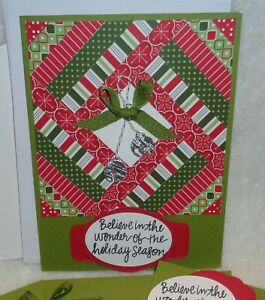 Card Kit Quilt Jingle Bells BELIEVE IN THE WONDER Merry Christmas Stampin/' Up